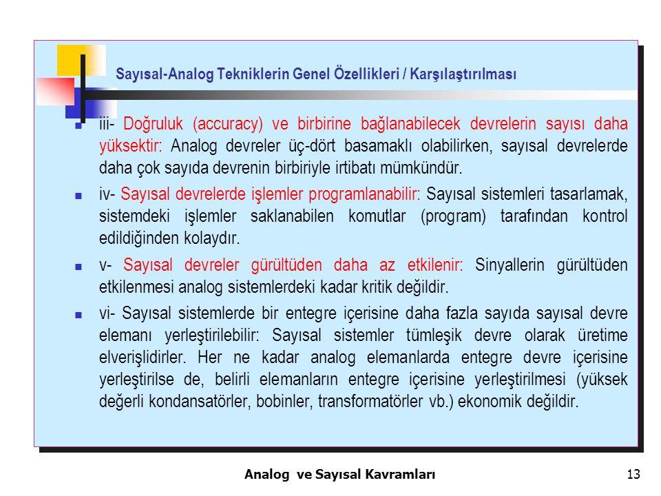 13 Sayısal-Analog Tekniklerin Genel Özellikleri / Karşılaştırılması iii- Doğruluk (accuracy) ve birbirine bağlanabilecek devrelerin sayısı daha yüksek