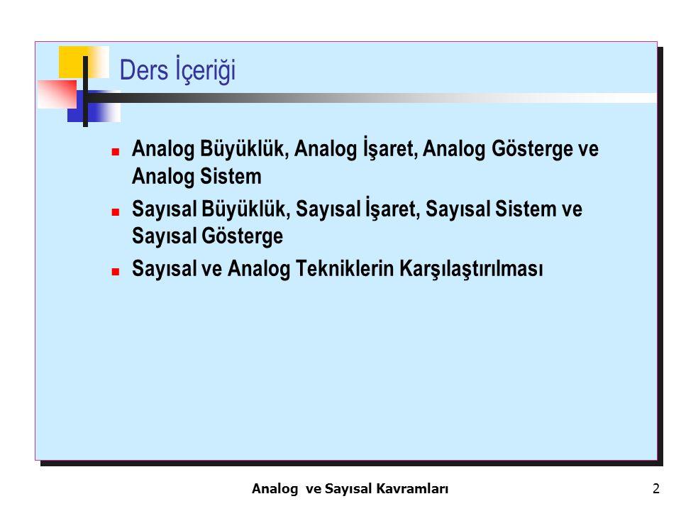 Analog ve Sayısal Kavramları 2 Ders İçeriği Analog Büyüklük, Analog İşaret, Analog Gösterge ve Analog Sistem Sayısal Büyüklük, Sayısal İşaret, Sayısal