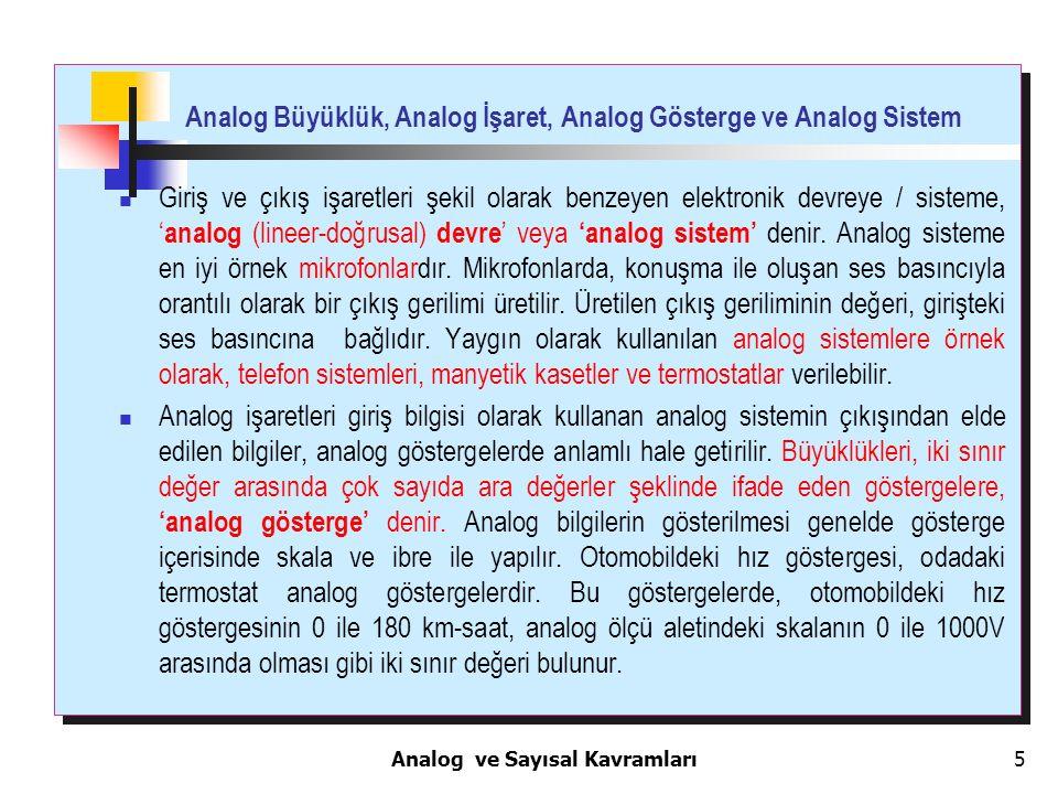 5 Analog Büyüklük, Analog İşaret, Analog Gösterge ve Analog Sistem Giriş ve çıkış işaretleri şekil olarak benzeyen elektronik devreye / sisteme, ' ana