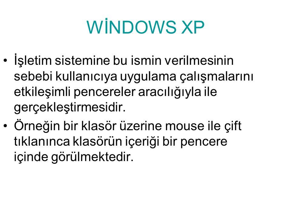 WİNDOWS XP NEDİR? Windows XP, kullanıcıya kolay ve etkileşimli çalışma ortamı hazırlayan ve görsel iletilerle yaklaşarak, programları çalıştıran grafi