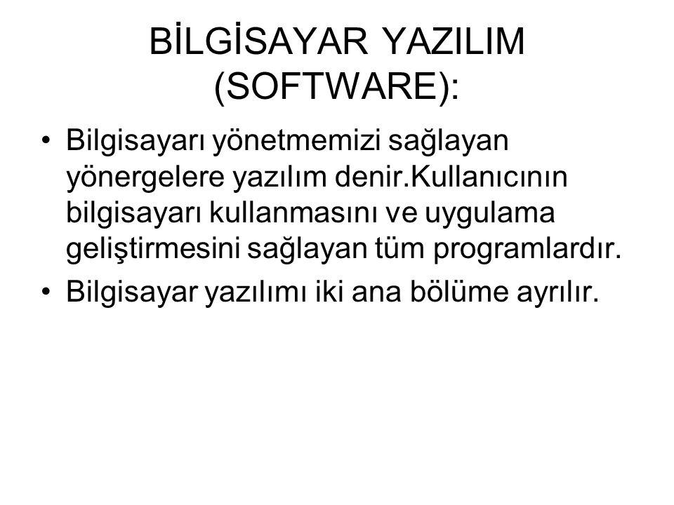 Bir bilgisayar sistemi donanım ve yazılım sistemlerinden oluşur. BİLGİSAYAR DOMANIMI (HARDWARE): Fiziksel olarak bilgisayarın parçaların tümüne donanı