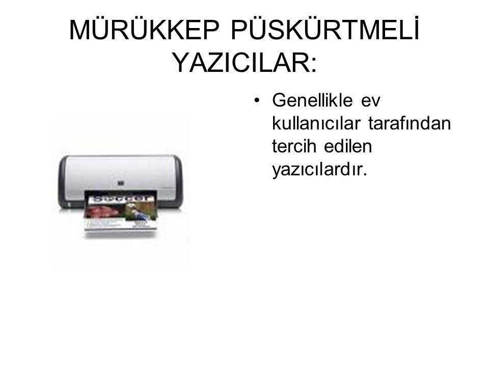 1. NOKTA VURUŞLU YAZICILAR: Sadece yazıcılar için kullanılırlar.Genellikle forma çıktı almak için kullanılrlar.