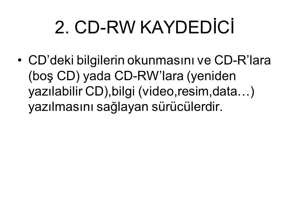 CD SÜRÜCÜLER 1. CD-ROM VE CD SÜRÜCÜ Bilgi toplamak için kullanılan büyük çaplı taşınılabilir manyetik kayıt ortamına CD-ROM denir.Kapasiteleri 650,700