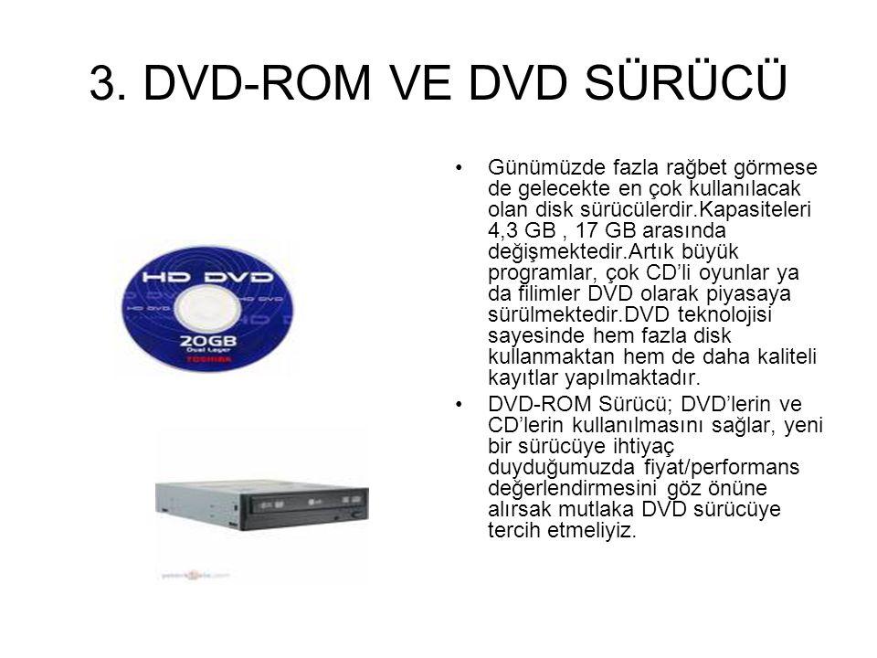 2. CD-RW KAYDEDİCİ CD'deki bilgilerin okunmasını ve CD-R'lara (boş CD) yada CD-RW'lara (yeniden yazılabilir CD),bilgi (video,resim,data…) yazılmasını