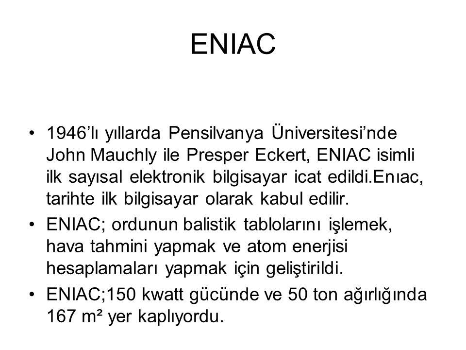 ENIAC 1946'lı yıllarda Pensilvanya Üniversitesi'nde John Mauchly ile Presper Eckert, ENIAC isimli ilk sayısal elektronik bilgisayar icat edildi.Enıac, tarihte ilk bilgisayar olarak kabul edilir.