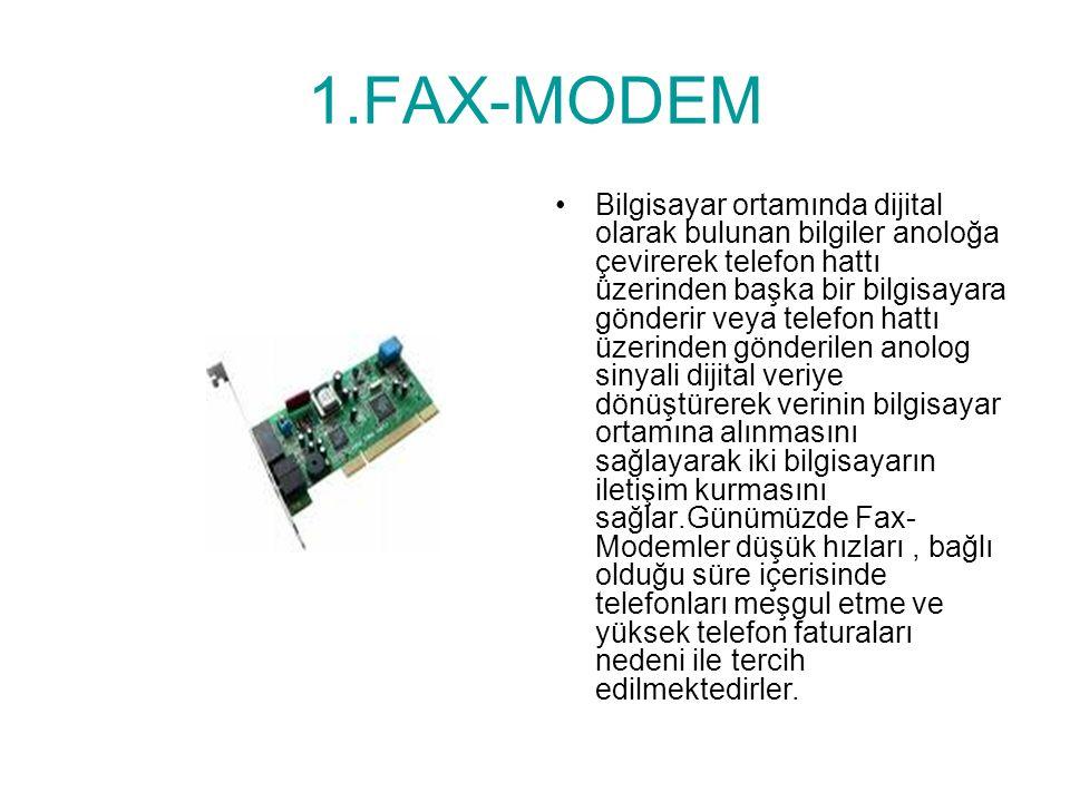MODEMLER Bilgisayarların telefon hattı üzerinden internete bağlanmasını sağlayan aygıtlara modem denir.Modemler sayesinde bilgisayarlar şehir içi, şehirlerarası, uluslar arası haberleşirler.Modemler iki çeşittir.