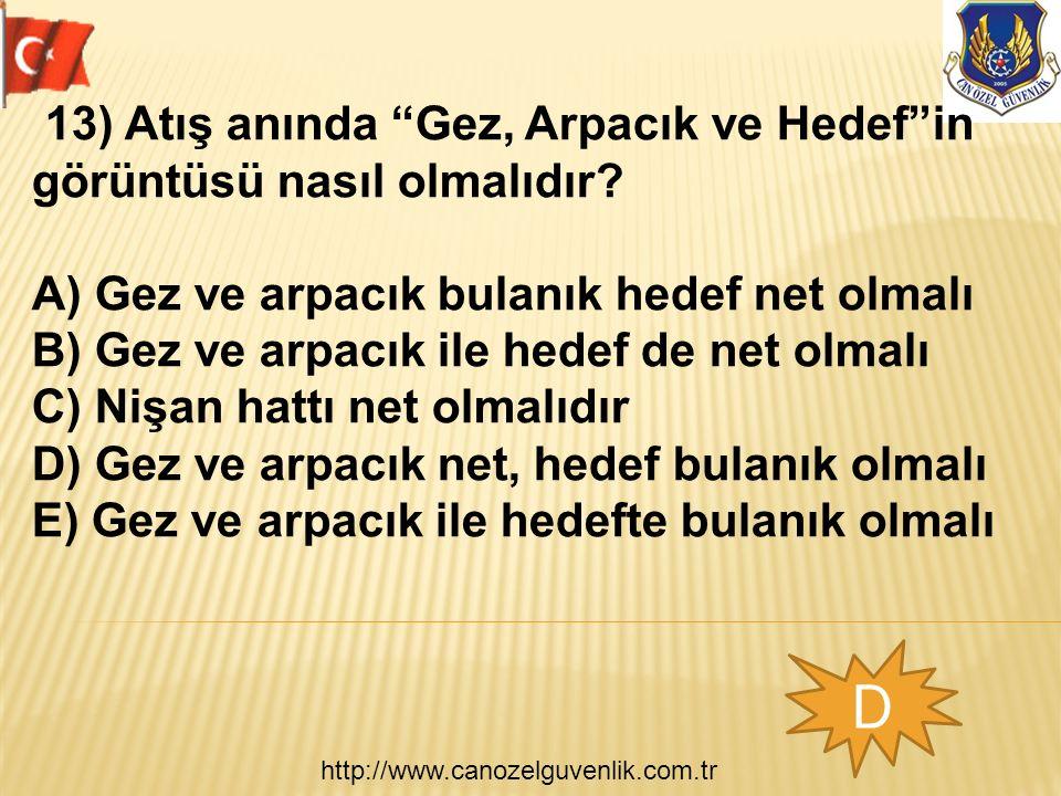 http://www.canozelguvenlik.com.tr D 13) Atış anında Gez, Arpacık ve Hedef in görüntüsü nasıl olmalıdır.