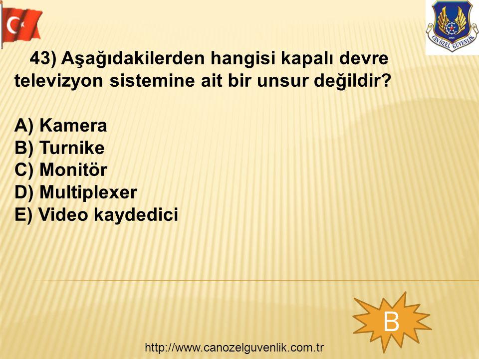 http://www.canozelguvenlik.com.tr B 43) Aşağıdakilerden hangisi kapalı devre televizyon sistemine ait bir unsur değildir.
