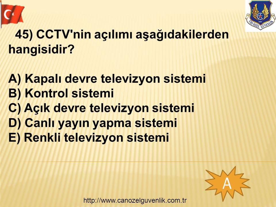 http://www.canozelguvenlik.com.tr A 45) CCTV nin açılımı aşağıdakilerden hangisidir.