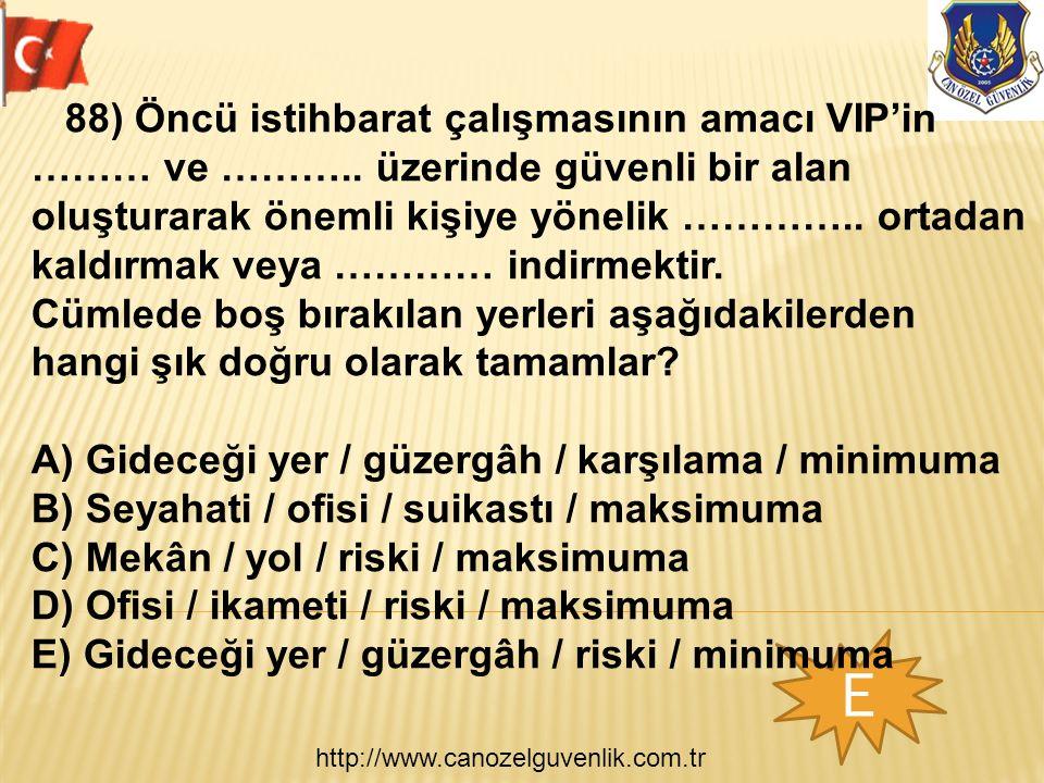 http://www.canozelguvenlik.com.tr E 88) Öncü istihbarat çalışmasının amacı VIP'in ……… ve ………..