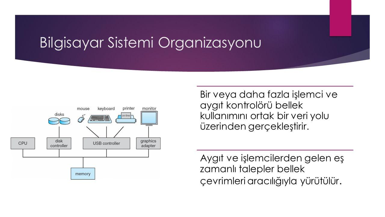 Bilgisayar Sistemi Organizasyonu Bir veya daha fazla işlemci ve aygıt kontrolörü bellek kullanımını ortak bir veri yolu üzerinden gerçekleştirir.