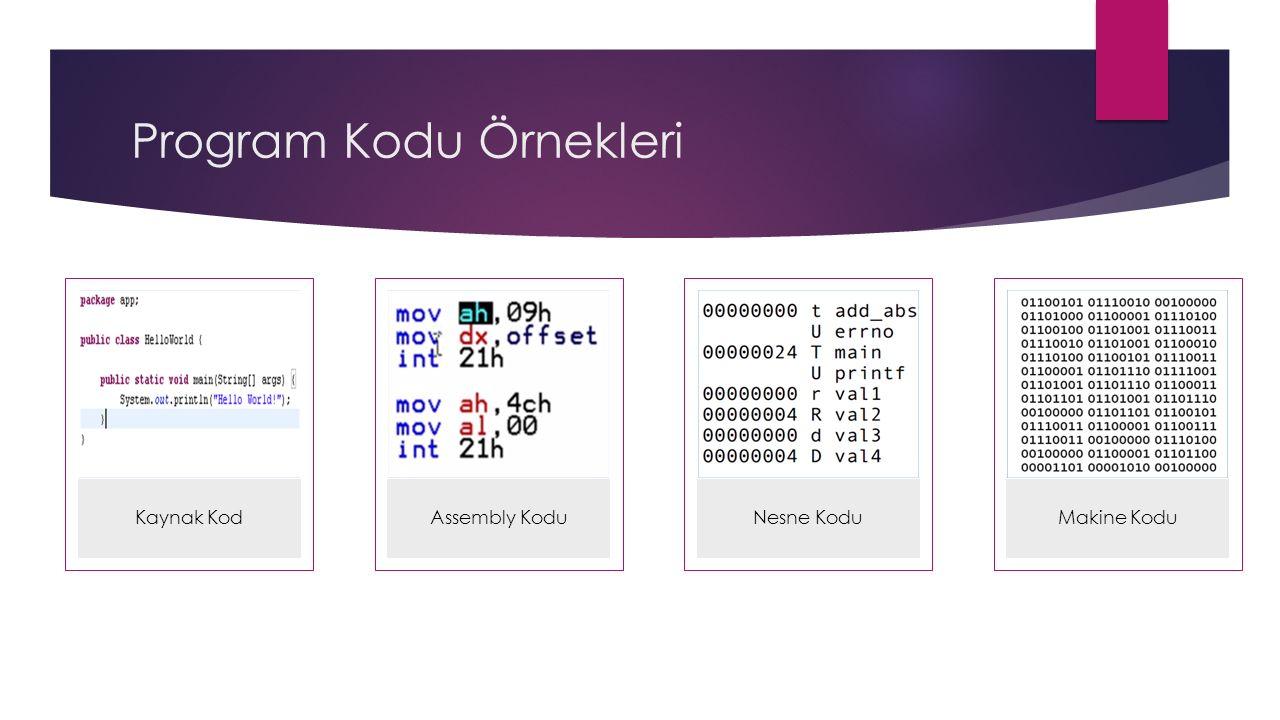 Program Kodu Örnekleri Kaynak KodAssembly KoduNesne KoduMakine Kodu