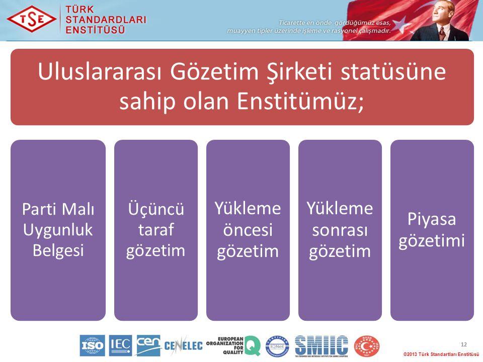 12 ©2013 Türk Standartları Enstitüsü Uluslararası Gözetim Şirketi statüsüne sahip olan Enstitümüz; Parti Malı Uygunluk Belgesi Üçüncü taraf gözetim Yükleme öncesi gözetim Yükleme sonrası gözetim Piyasa gözetimi