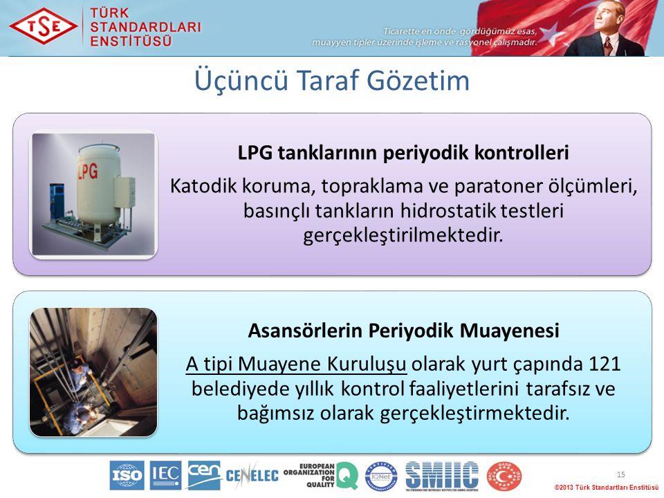 Üçüncü Taraf Gözetim 15 ©2013 Türk Standartları Enstitüsü LPG tanklarının periyodik kontrolleri Katodik koruma, topraklama ve paratoner ölçümleri, basınçlı tankların hidrostatik testleri gerçekleştirilmektedir.