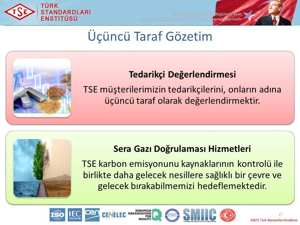 17 ©2013 Türk Standartları Enstitüsü Tedarikçi Değerlendirmesi TSE müşterilerimizin tedarikçilerini, onların adına üçüncü taraf olarak değerlendirmektir.