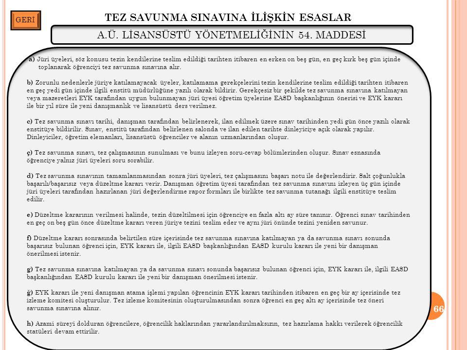 TEZ SAVUNMA SINAVINA İLİŞKİN ESASLAR 66 A.Ü. LİSANSÜSTÜ YÖNETMELİĞİNİN 54.