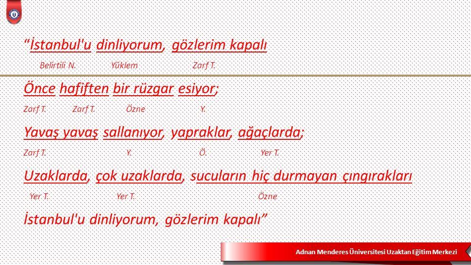 """Adnan Menderes Üniversitesi Uzaktan Eğitim Merkezi """"İstanbul'u dinliyorum, gözlerim kapalı Belirtili N. Yüklem Zarf T. Önce hafiften bir rüzgar esiyor"""