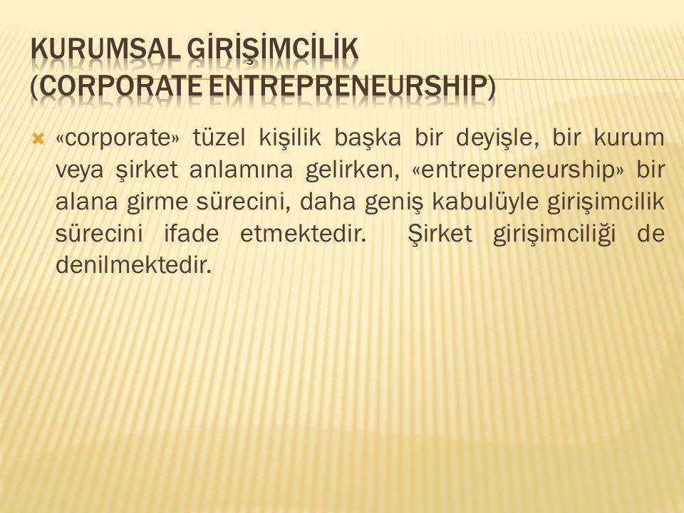  «corporate» tüzel kişilik başka bir deyişle, bir kurum veya şirket anlamına gelirken, «entrepreneurship» bir alana girme sürecini, daha geniş kabulü