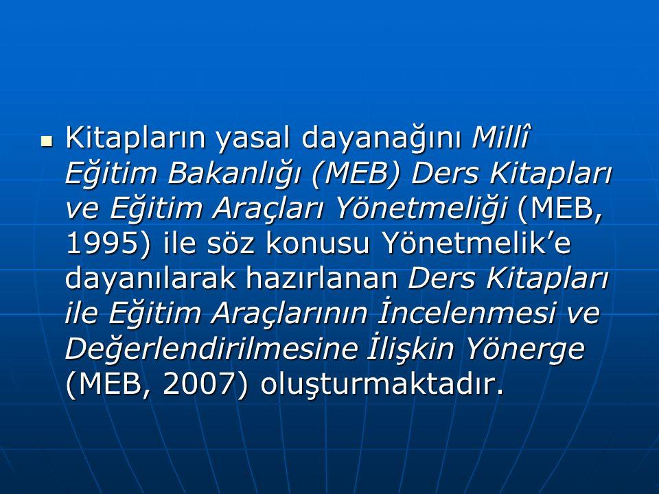 Kitapların yasal dayanağını Millî Eğitim Bakanlığı (MEB) Ders Kitapları ve Eğitim Araçları Yönetmeliği (MEB, 1995) ile söz konusu Yönetmelik'e dayanılarak hazırlanan Ders Kitapları ile Eğitim Araçlarının İncelenmesi ve Değerlendirilmesine İlişkin Yönerge (MEB, 2007) oluşturmaktadır.
