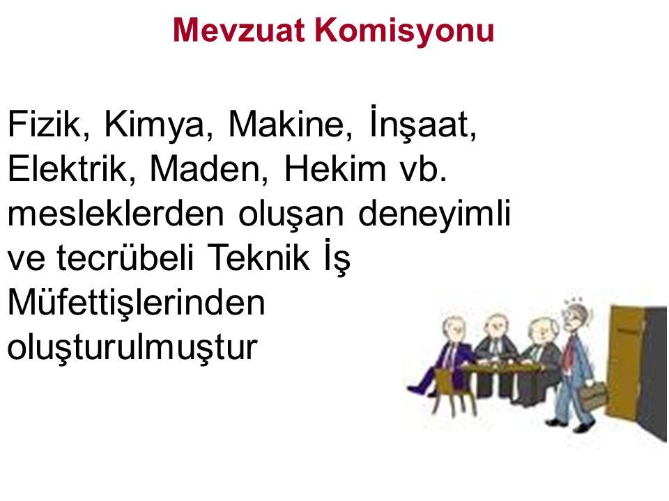 Fizik, Kimya, Makine, İnşaat, Elektrik, Maden, Hekim vb.
