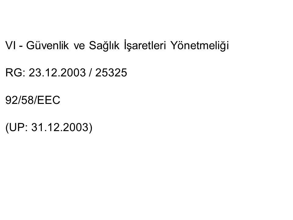 VI - Güvenlik ve Sağlık İşaretleri Yönetmeliği RG: 23.12.2003 / 25325 92/58/EEC (UP: 31.12.2003)
