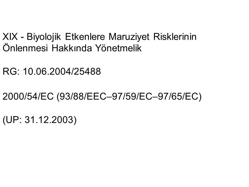 XIX - Biyolojik Etkenlere Maruziyet Risklerinin Önlenmesi Hakkında Yönetmelik RG: 10.06.2004/25488 2000/54/EC (93/88/EEC–97/59/EC–97/65/EC) (UP: 31.12