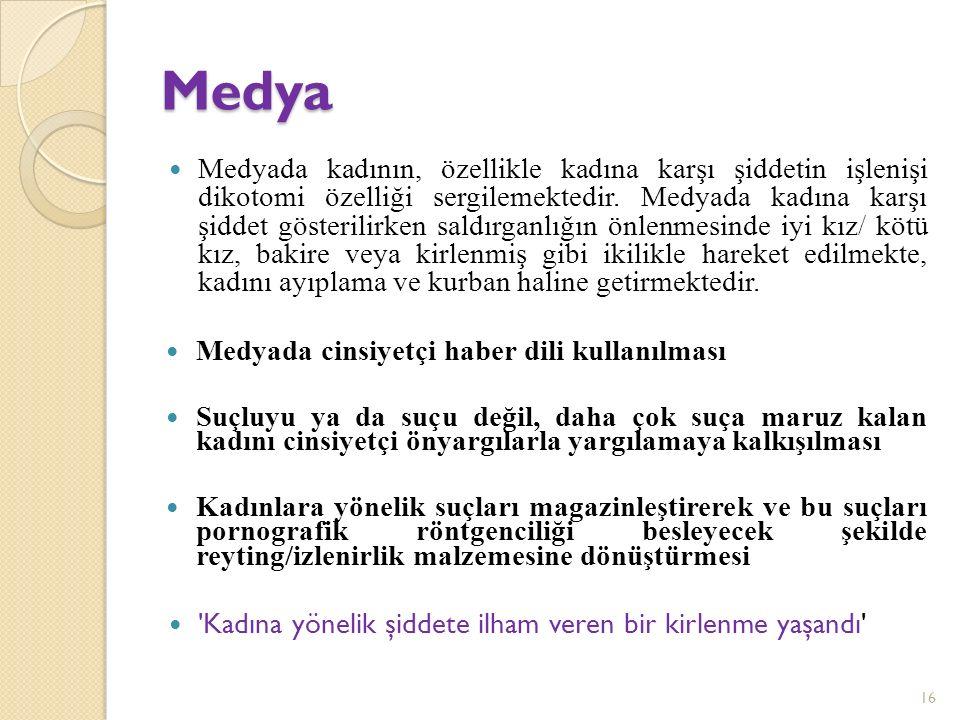 Medya Medyada kadının, özellikle kadına karşı şiddetin işlenişi dikotomi özelliği sergilemektedir.
