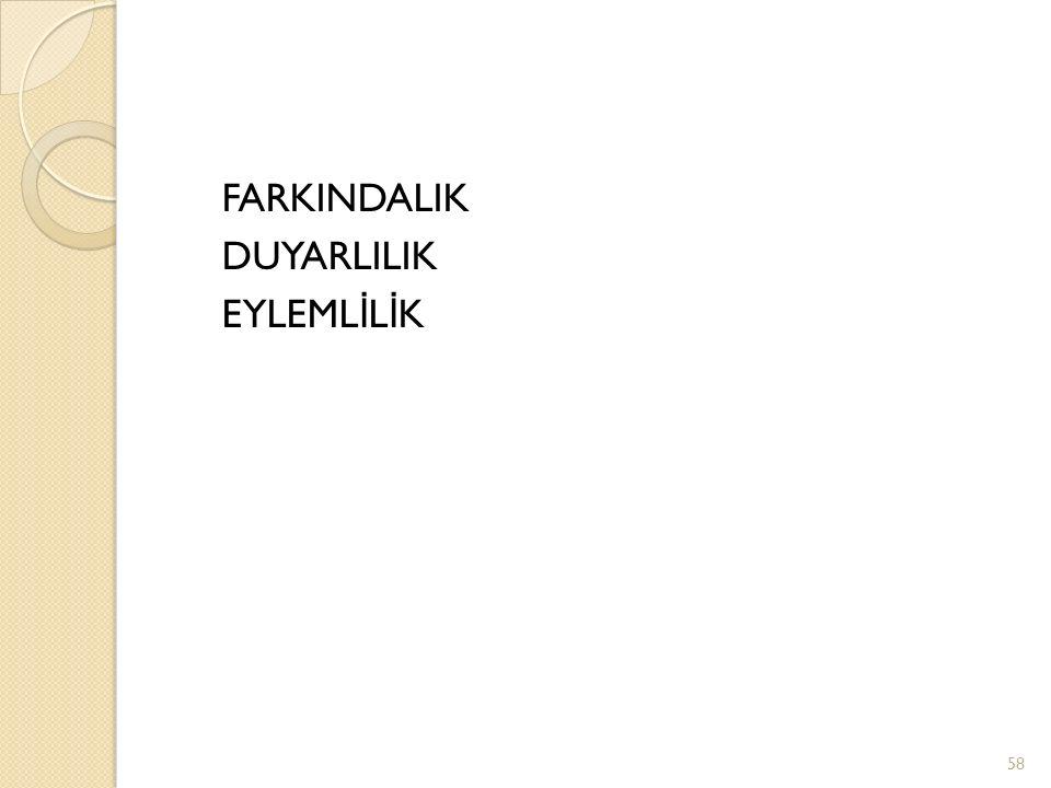 FARKINDALIK DUYARLILIK EYLEML İ L İ K 58