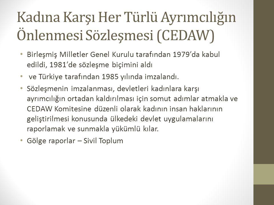Kadına Karşı Her Türlü Ayrımcılığın Önlenmesi Sözleşmesi (CEDAW) Birleşmiş Milletler Genel Kurulu tarafından 1979′da kabul edildi, 1981′de sözleşme biçimini aldı ve Türkiye tarafından 1985 yılında imzalandı.