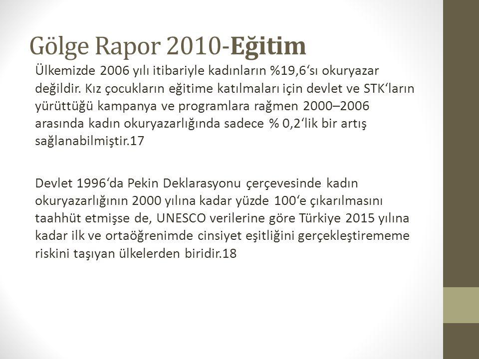 Gölge Rapor 2010-Eğitim Ülkemizde 2006 yılı itibariyle kadınların %19,6'sı okuryazar değildir.