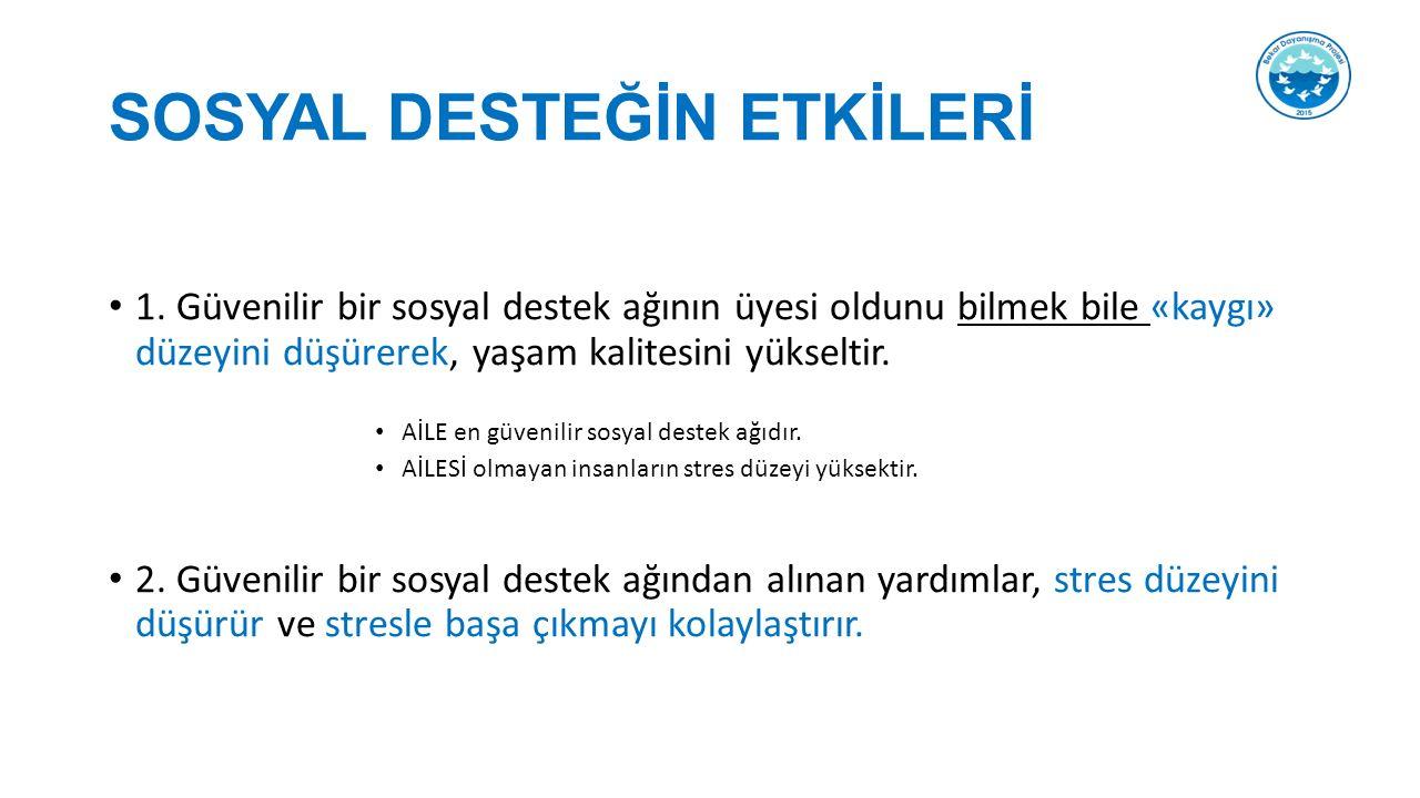 SOSYAL DESTEĞİN ETKİLERİ 1.