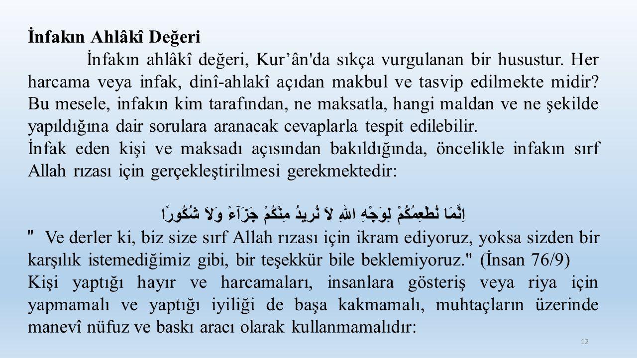 İnfakın Ahlâkî Değeri İnfakın ahlâkî değeri, Kur'ân'da sıkça vurgulanan bir husustur. Her harcama veya infak, dinî-ahlakî açıdan makbul ve tasvip edil