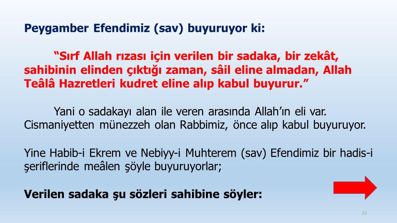 """Peygamber Efendimiz (sav) buyuruyor ki: """"Sırf Allah rızası için verilen bir sadaka, bir zekât, sahibinin elinden çıktığı zaman, sâil eline almadan, Al"""