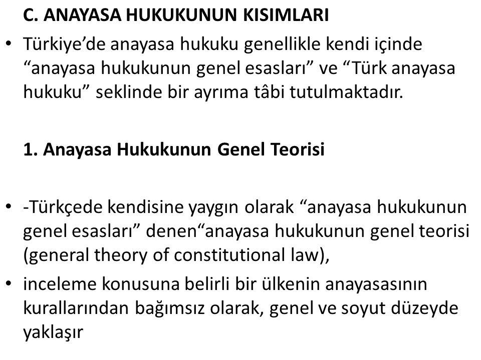 """C. ANAYASA HUKUKUNUN KISIMLARI Türkiye'de anayasa hukuku genellikle kendi içinde """"anayasa hukukunun genel esasları"""" ve """"Türk anayasa hukuku"""" seklinde"""