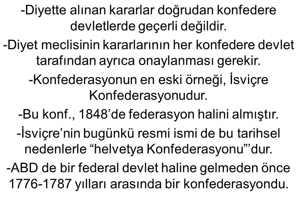 -Diyette alınan kararlar doğrudan konfedere devletlerde geçerli değildir.