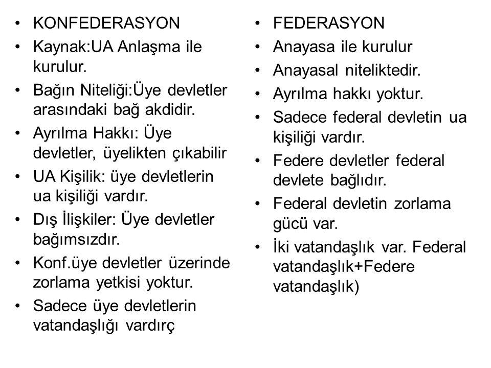 KONFEDERASYON Kaynak:UA Anlaşma ile kurulur.Bağın Niteliği:Üye devletler arasındaki bağ akdidir.