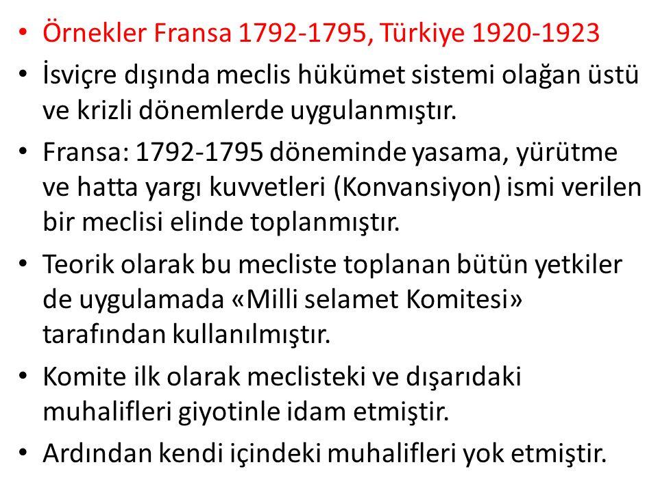 Örnekler Fransa 1792-1795, Türkiye 1920-1923 İsviçre dışında meclis hükümet sistemi olağan üstü ve krizli dönemlerde uygulanmıştır.