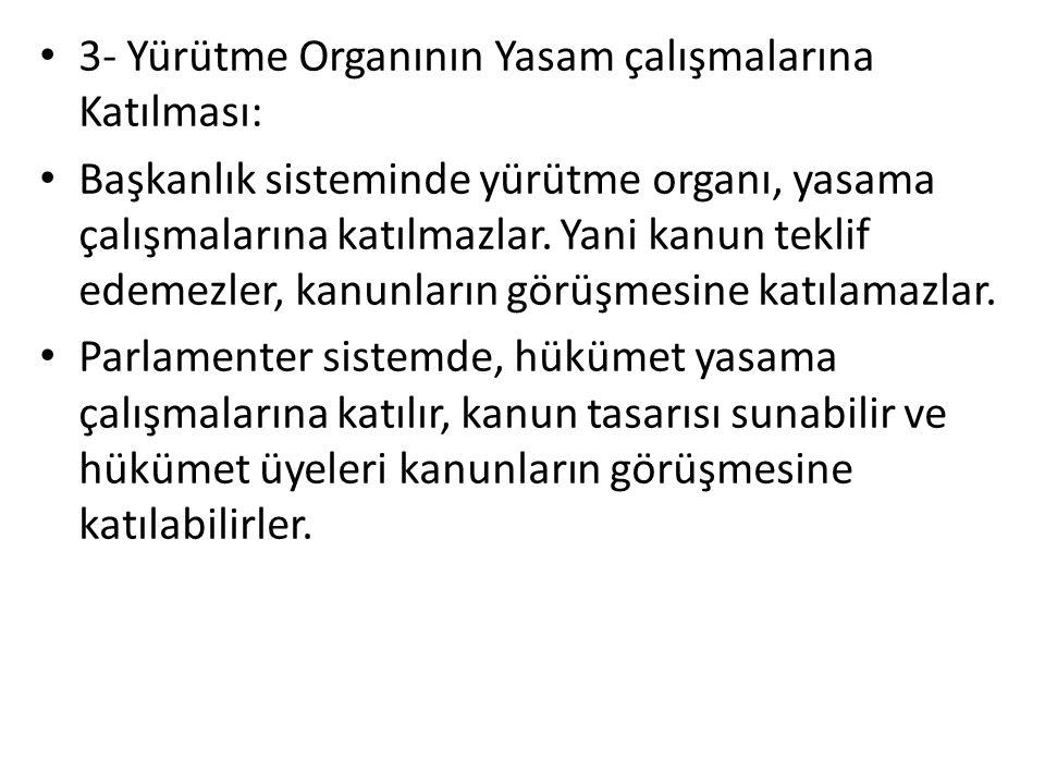 3- Yürütme Organının Yasam çalışmalarına Katılması: Başkanlık sisteminde yürütme organı, yasama çalışmalarına katılmazlar.