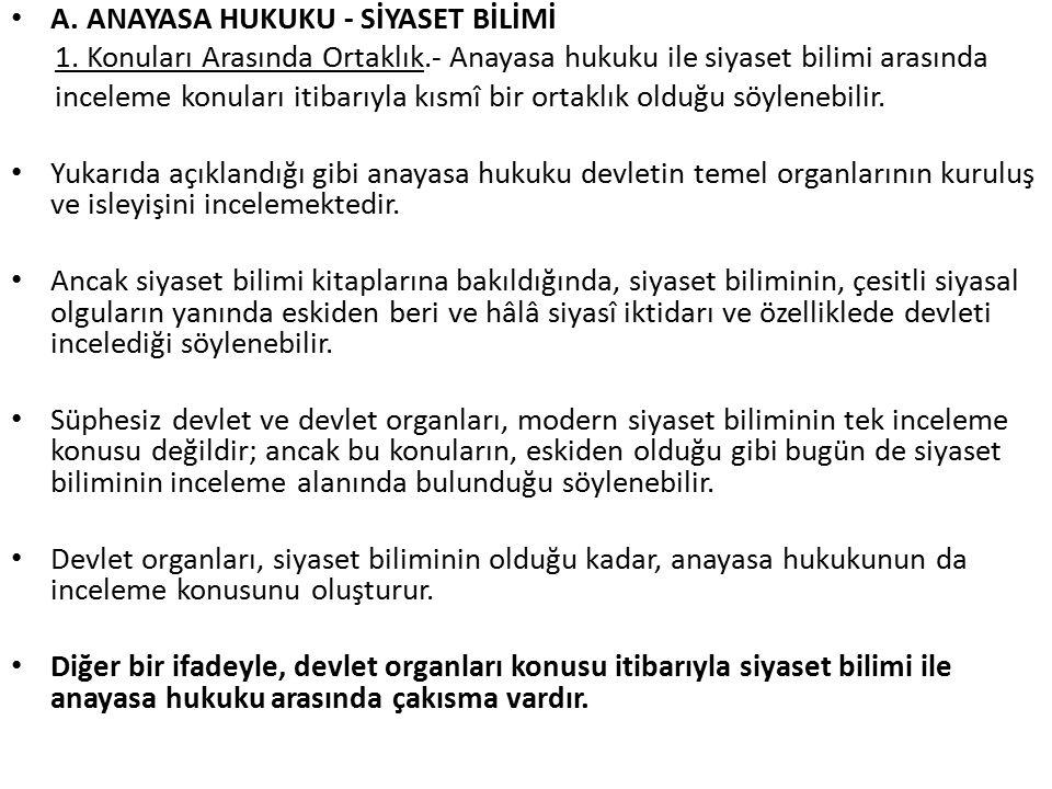 A.ANAYASA HUKUKU - SİYASET BİLİMİ 1.