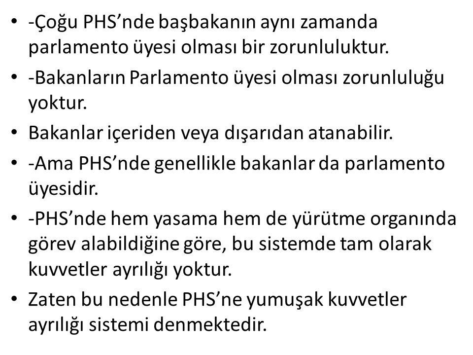 -Çoğu PHS'nde başbakanın aynı zamanda parlamento üyesi olması bir zorunluluktur.