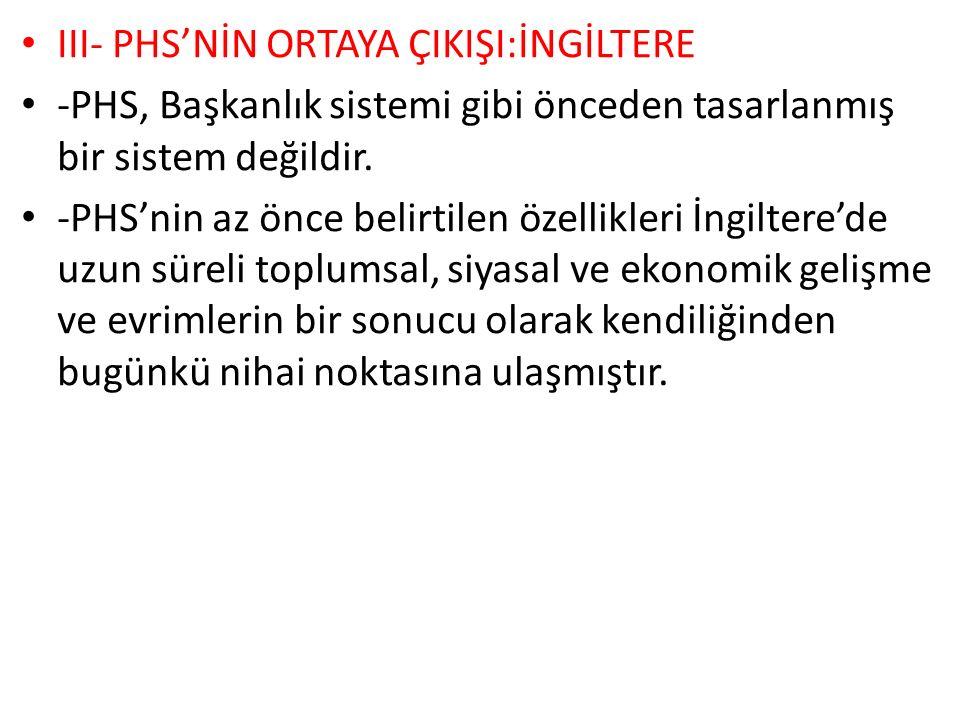 III- PHS'NİN ORTAYA ÇIKIŞI:İNGİLTERE -PHS, Başkanlık sistemi gibi önceden tasarlanmış bir sistem değildir.