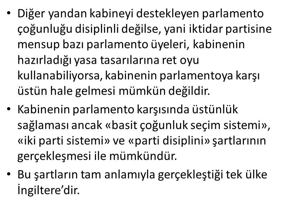 Diğer yandan kabineyi destekleyen parlamento çoğunluğu disiplinli değilse, yani iktidar partisine mensup bazı parlamento üyeleri, kabinenin hazırladığı yasa tasarılarına ret oyu kullanabiliyorsa, kabinenin parlamentoya karşı üstün hale gelmesi mümkün değildir.