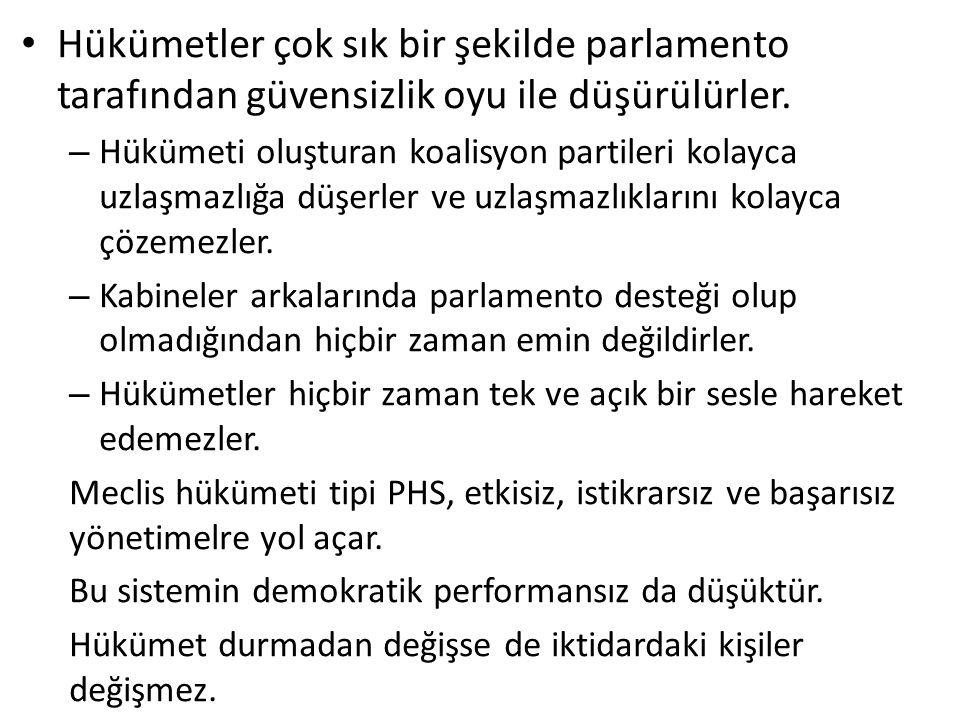 Hükümetler çok sık bir şekilde parlamento tarafından güvensizlik oyu ile düşürülürler.