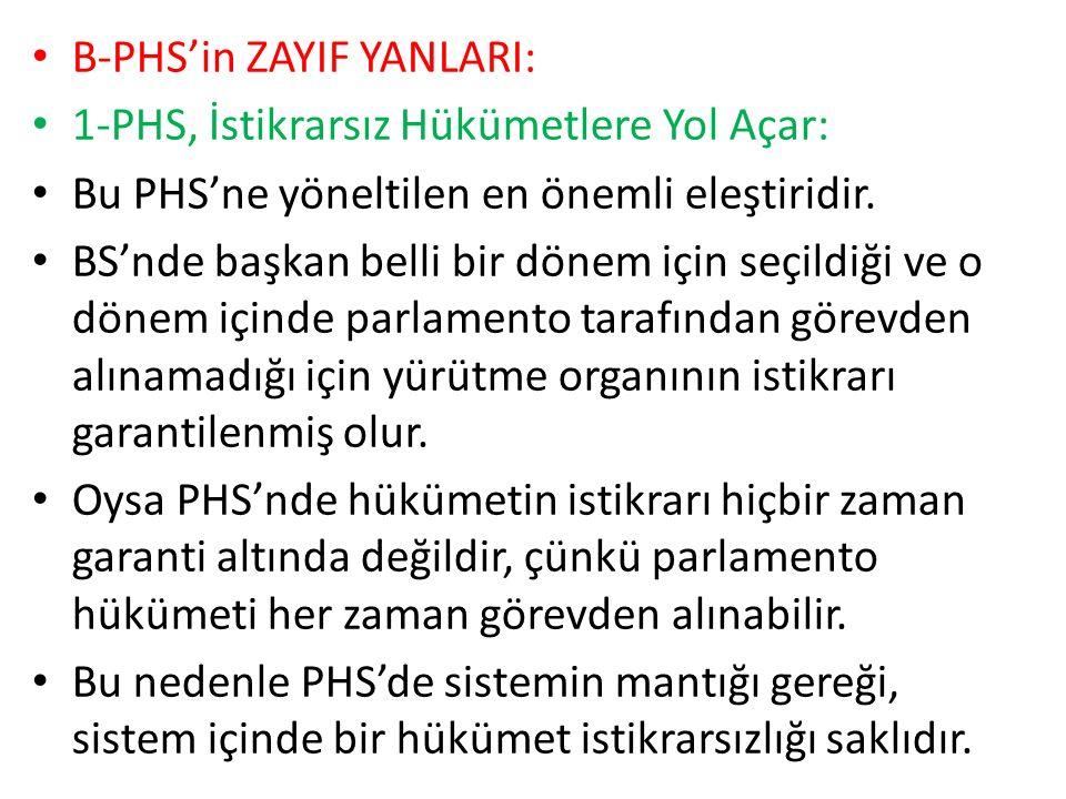 B-PHS'in ZAYIF YANLARI: 1-PHS, İstikrarsız Hükümetlere Yol Açar: Bu PHS'ne yöneltilen en önemli eleştiridir.