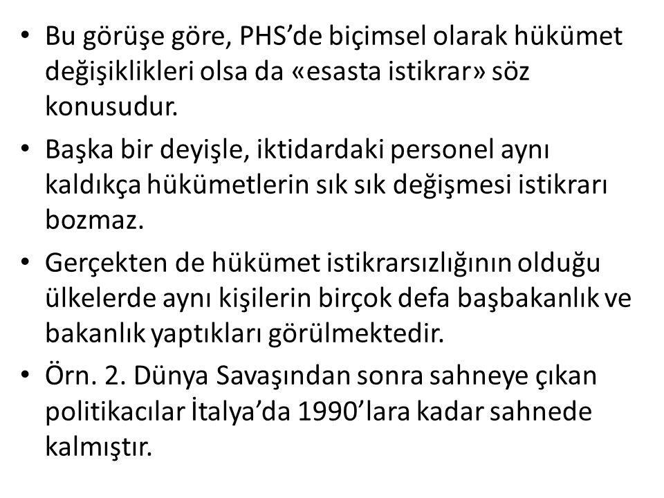 Bu görüşe göre, PHS'de biçimsel olarak hükümet değişiklikleri olsa da «esasta istikrar» söz konusudur.