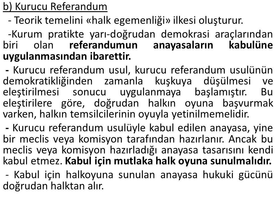 b) Kurucu Referandum - Teorik temelini «halk egemenliği» ilkesi oluşturur.