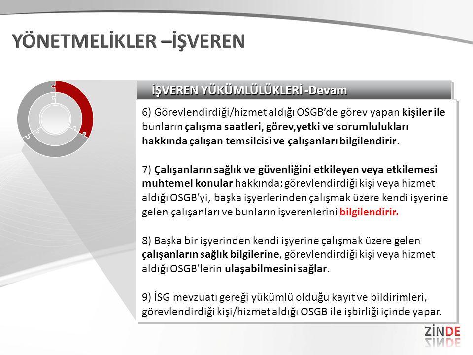 İŞVEREN YÜKÜMLÜLÜKLERİ -Devam 6) Görevlendirdiği/hizmet aldığı OSGB'de görev yapan kişiler ile bunların çalışma saatleri, görev,yetki ve sorumluluklar