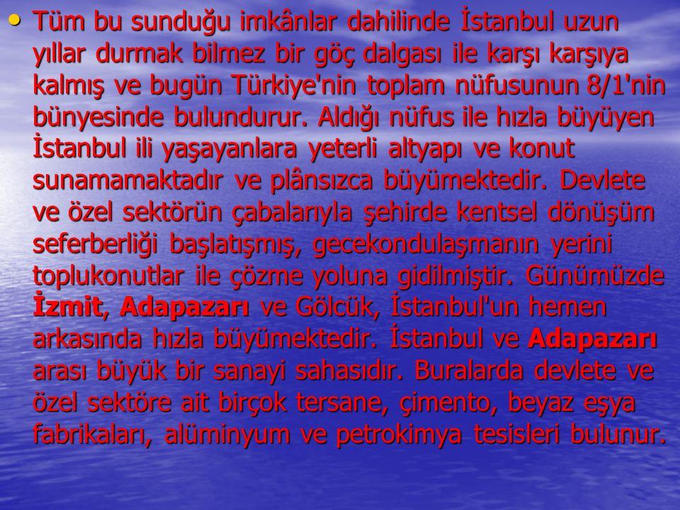 Tüm bu sunduğu imkânlar dahilinde İstanbul uzun yıllar durmak bilmez bir göç dalgası ile karşı karşıya kalmış ve bugün Türkiye nin toplam nüfusunun 8/1 nin bünyesinde bulundurur.
