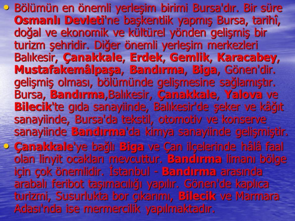 Bölümün en önemli yerleşim birimi Bursa'dır. Bir süre Osmanlı Devleti'ne başkentlik yapmış Bursa, tarihî, doğal ve ekonomik ve kültürel yönden gelişmi