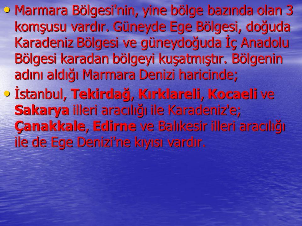 Marmara Bölgesi'nin, yine bölge bazında olan 3 komşusu vardır. Güneyde Ege Bölgesi, doğuda Karadeniz Bölgesi ve güneydoğuda İç Anadolu Bölgesi karadan